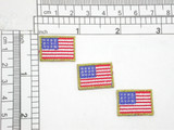 """3 x USA Flag Embroidered Iron On Applique 7/8"""" x 5/8"""" Fully Embroidered with Metallic Gold Outline Measures 7/8"""" across x 5/8"""" high"""