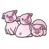 Piglets 3 Little Pigs Iron On Patch Applique