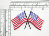 "Large USA Flags Crossed Iron On Patch Applique  Fully Embroidered Measures 3"" across x 1 3/4"" high"