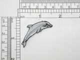 "Dolphin facing Right Embroidered Iron On Patch Applique Fully Embroidered Measures 1 1/4"" across x 1 3/4"" high approximately"