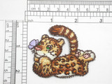 Cheetah Cub w butterfly Embroidered Iron On Patch Applique