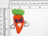 "Singing Carrot with Groovy Sunglasses Iron On Patch Applique  Measures 2 3/8"" high x 1 7/8"" wide approximately"