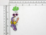 "Parsnip with Saxophone Iron On Patch Applique   Measures 3 5/8"" high x 1 1/4"" wide approximately"