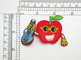 "Apple with Guitar Iron On Patch Applique Measures 1 3/4"" high x 2 3/4"" wide approximately"