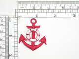 "2 x Anchor Red Red Embroidered Iron On Patch Applique Fully Embroidered in  Rayon THread  Measure 1.75"" high x 1 3/8"" wide"