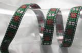"Jacquard Ribbon 1"" Black White Red Green Floral Priced Per Yard"
