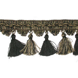 "Tassel Fringe 3 1/2"" Black & Tan 3 3/4 Yards"
