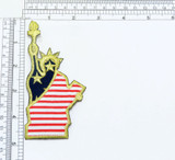 """Iron On Patch Applique -Patriotic Statue of  Liberty Embroidered with Metallic Gold Thread on Stars & Stripes Backing Fabrics Measures 4 3/4"""" high x 2 1/4 """" wide"""
