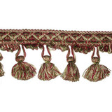 "Tassel Fringe 3"" Wine Sage & Tan Conso 3 Yards"