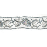 """Sheer Embroidered 1 1/4"""" Beaded Gray Floral"""