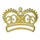 Crown Metallic Gold Embroidered Iron On Patch Applique
