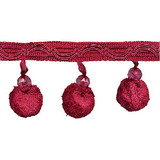 "Beaded Ball Fringe 2 3/4"" Conso 2 1/4 Yard Bolt - Red"