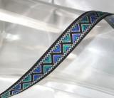 "Jacquard Ribbon 11/16"" Blue Aqua Black Zig Zag Per Yard"