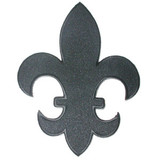 "Fleur De Lys Black Twill with Embroidered Border Iron On Patch Applique 5 7/8"" tall"