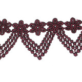 """Venise Lace 2 1/4"""" Wine Floral Droplet Priced Per Yard"""