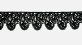 """Venise Lace 1 9/16"""" (40mm) Paisley Style Black Priced Per Yard"""