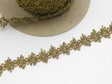 "Braid 1"" (25.4mm)  Black Metallic Yellow Gold Looped Priced Per Yard"