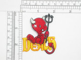 """Devil of Death Iron On Patch Applique Fully Embroidered with star stud on face Sitting on the word """"Death"""""""