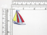 """Sailboat Colorful sails Embroidered Iron On Patch Applique  Fully Embroidered Measures 1 1/4"""" across x 1 3/8"""" high"""