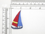 """Sailboat Red & Blue Embroidered Iron On Patch Applique Fully Embroidered Measures 1 1/4"""" across x 2 1/8"""" high"""