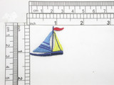 """Sailboat Yacht Embroidered Iron On Patch Applique  Fully Embroidered Measures 1 1/4"""" across x 1 1/8"""" high"""