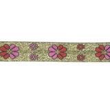 """Jacquard Ribbon 7/8"""" Metallic Floral 10 Yards"""