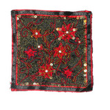 """Fabric Panel Applique  - Beaded & Embroidered 5 1/8"""" square"""