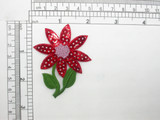 Flower Applique Sequin Red Iron On Embroidered Patch