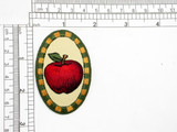 "Country Apple Patch Iron On Patch Applique  embroidered on  tan twill Backing Measures 2 5/8"" high x 1 3/4"" wide"
