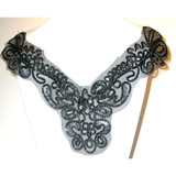 Corded Collar Black & Metallic Silver Corded