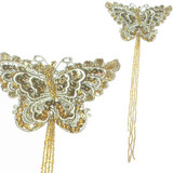 Venise Lace Butterfly Beaded Light Khaki & Gold