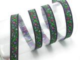 """Jacquard Ribbon 5/8"""" Purple Floral 10 Yards"""