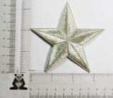 """Star 3 1/2"""" (88.9mm) Metallic Silver Embroidered Iron On Patch Applique"""