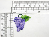 "Bunch of Grapes Iron On Patch Applique 1 3/8"" high x 1 1/4"" wide Fully Embroidered in Rayon Threads Measures 1 3/8"" high x 1 1/4"" wide"