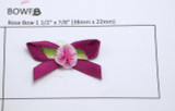 Ribbon Rose on Bow Dark Raspberry 24 Pack