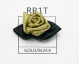 Ribbon Rose with Leaf Metallic Gold & Black 5 Pack