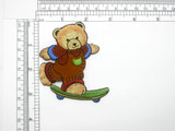 "Bear on Skateboard Patch Iron On Embroidered Applique 2 3/4"" x 3 1/4"""