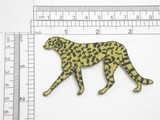 "Cheetah Met Gold Embroidered Iron on Patch Applique   Embroidered in Rayon and Metallic Thread   3"" across x 2"" high"