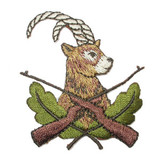 """Antelope Hunt Embroidered Iron on Applique  Fully Embroidered  1 3/4"""" across x 2 1/4"""" high approximately"""