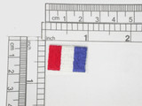 "Tricolore Flag of France Embroidered iron On Applique  Fully Embroidered with Rayon Threads Measures 7/8"" across x 5/8"" high"