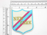 """New York Badge Crest Iron On Patch Applique   Embroidered on a White Backing with Rayon and Metallic threads   2 1/2"""" across x 3"""" high approximately"""