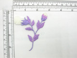 """Budding Rose Spray Iron On Embroidered Applique Off White & Purple  Embroidered in rayon threads and features an Off White Organza Flower Bud  Measures 3 3/8"""" high x 3"""" wide approximately"""