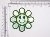 """Smiley Daisy 3"""" Iron On Patch Applique  Embroidered on a holographic backing  3"""" across x 3"""" high"""