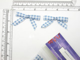 """Gingham Bows 2 1/8"""" x 1 3/8"""" Blue 12 Pack (57mm x 35mm)"""