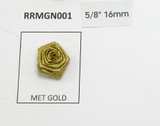 "Ribbon Rose 5/8"" (16mm) No Leaf Metallic Gold 25 Pack"