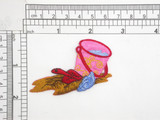 "Bucket & Shovel Beach Iron On Patch Applique  Embroidered on Sateen Backing with Rayon Threads   Measures 1 7/8"" high x 2 1/2"" Wide Approximately"