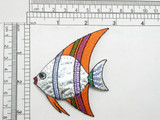 Fish Holographic Orange Iron On Patch Applique   Embroidered on Holographic Backing   Measures 3' High x 2 3/4 Wide Approximately