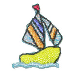 Sailboat Yellow with Striped sails