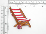 "Beach Chair Deck Chair Iron On Embroidered Patch Applique   Embroidered on sateen backing with rayon threads.   Measures 2 3/4"" High x 2 5/8"" Wide Approximately"