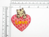 Love Heart with Cat Patch Holographic Iron On Applique
